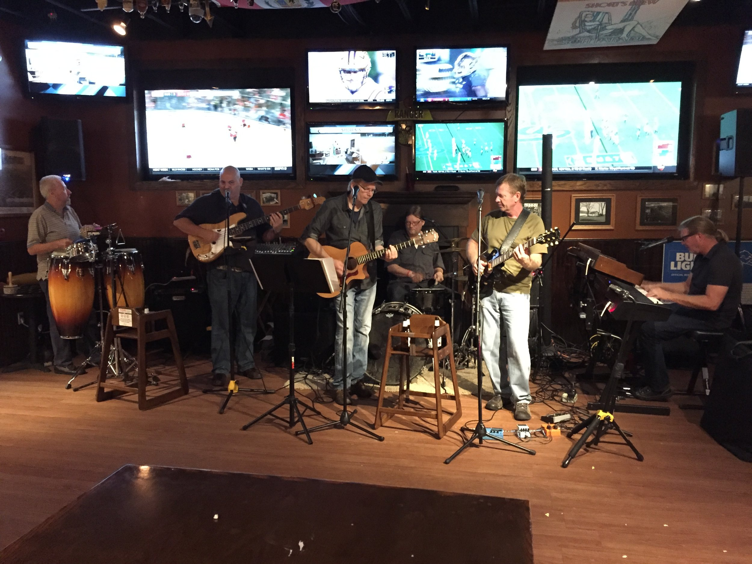 """We still get steph out to see her favorite local classic rock band: """"love howell""""--with our own garrett meyers on percussion (4th saturdays at shakespeare's pub)"""