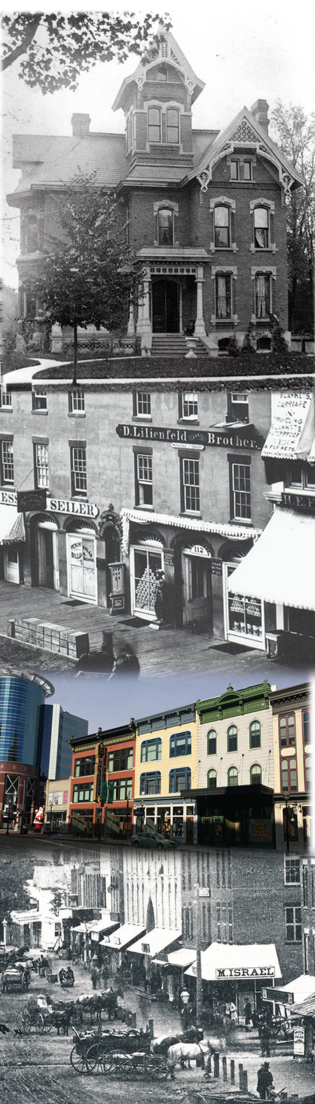 The Kalamazoo house (David Lilienfeld House) is pictured above, with the cigar factory that built it in the middle two photos, and the store owned by David's mentor and friend for whom he clerked below. (Courtesy of The kalamazoo public library.)