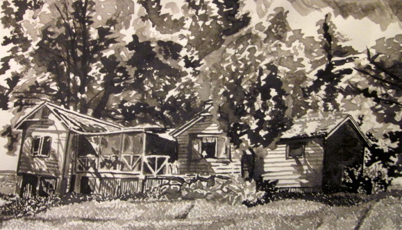 """Maple Cottage."" Sharon Gerdes. India Ink. 2015."