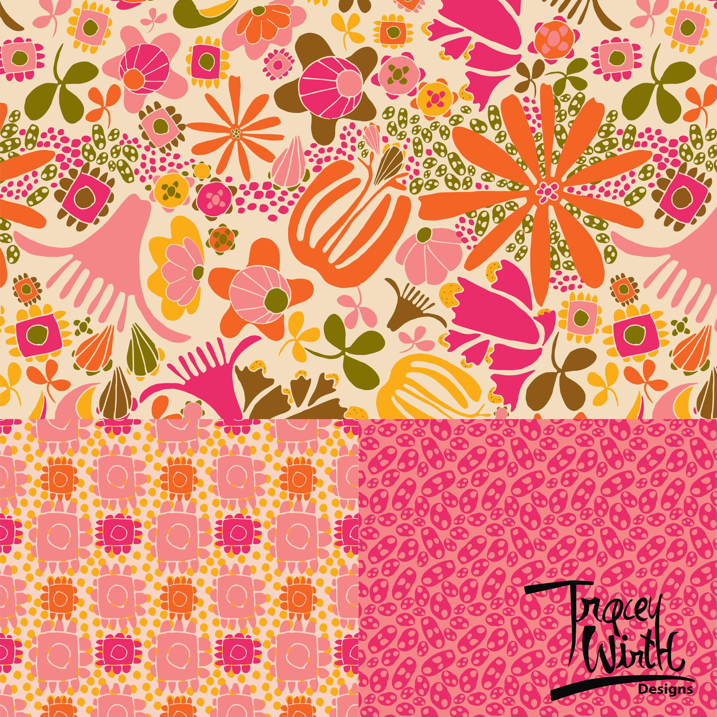 Floral Flurries in Fuschia -
