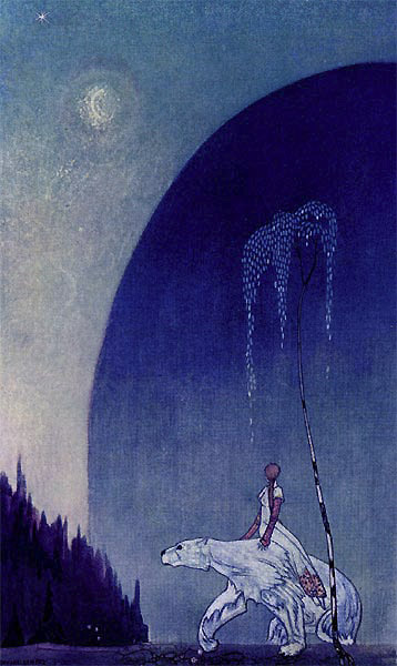 "Illustration caption:  ""Hold tight to my shaggy coat,"" he said, ""and there's nothing to fear.""  Kay Nielsen's illustration from ""East of the Sun and West of the Moon."""