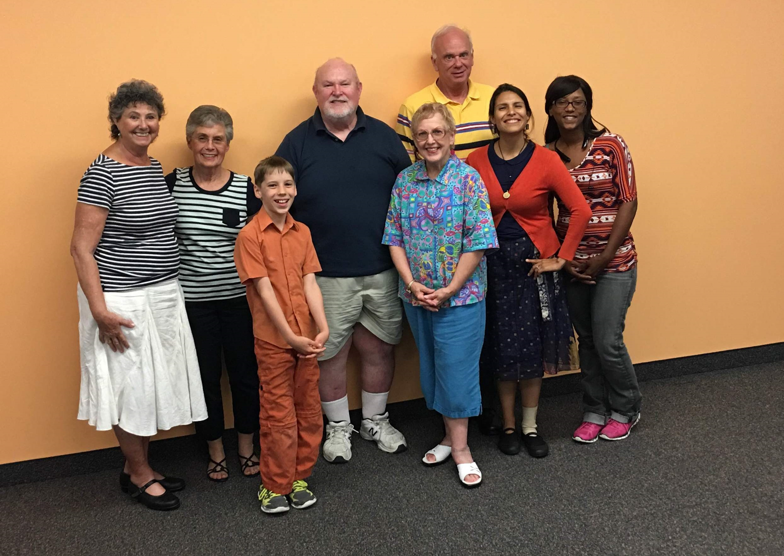 From Left to Right: Jane, Susan, Finn, John, Pat, Jamie, Carolina and Tracy