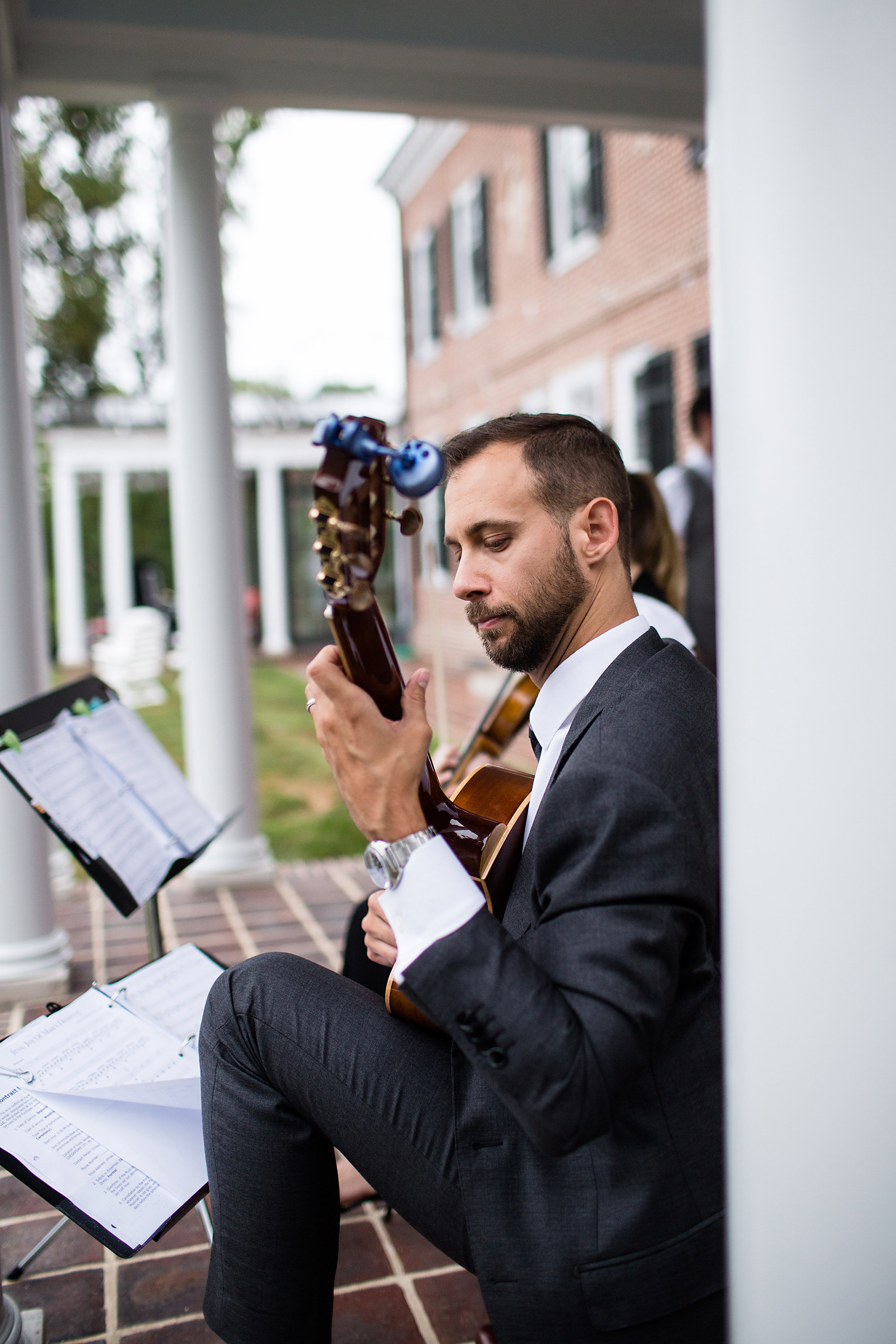 James Lowe and violinist performing at wedding in Baltimore County, Maryland.