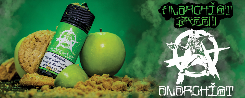 ANARCHIST GREEN - If you take a fresh batch of oven baked cookies, smothered with delicious cookie butter, then top all of that off with crisp granny smith apple slices you have Anarchist Green Eliquid. This ejuice combines the best of both flavor worlds with savory & sweet. The first thing you'll notice is the fresh picked citrus tang of a green apple Vape, which will be followed by a deep & flavorful cookie finish enjoyable for both sweet & savory vapers alike. Available in 60ml and 100ml Chubby Gorilla Bottles.