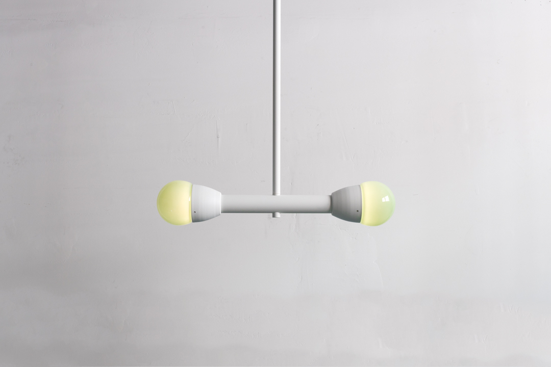 Bora.2 in textured white with opal green globe