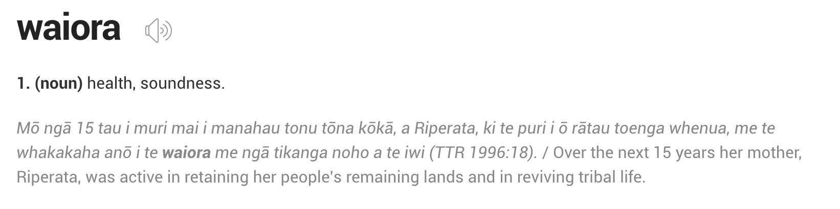 Waiora Meaning Screenshot
