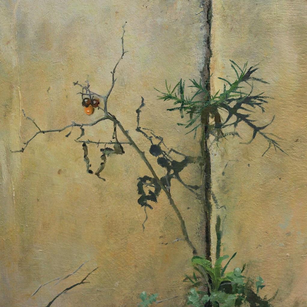 "Horsenettle Berries II, 9""x9"" oil on wood"