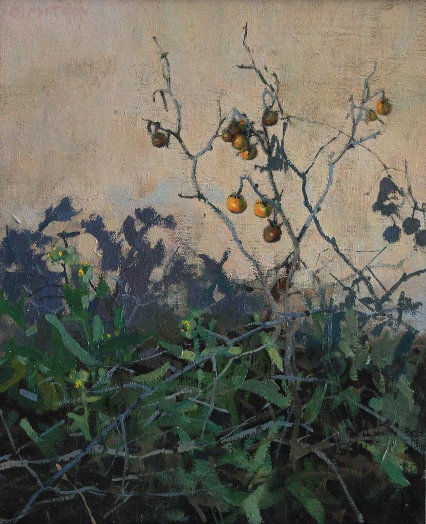 """Horsenettle Berries I, 8""""x10"""" Oil on canvas panel"""