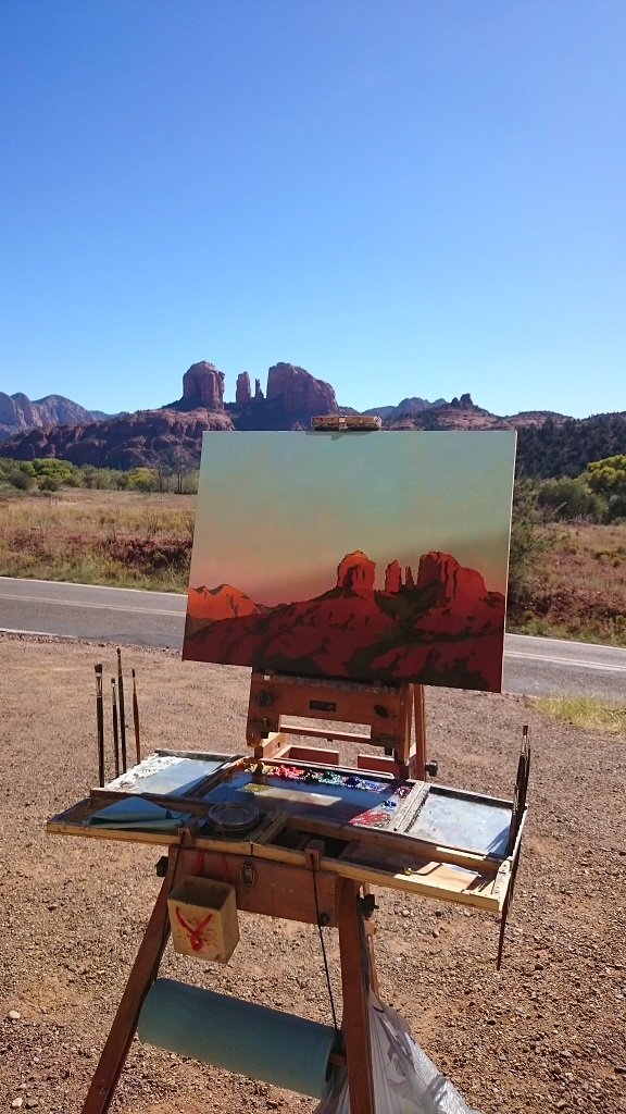 """Painting """"Last Light on Cathedral Rock from the house I was staying in."""