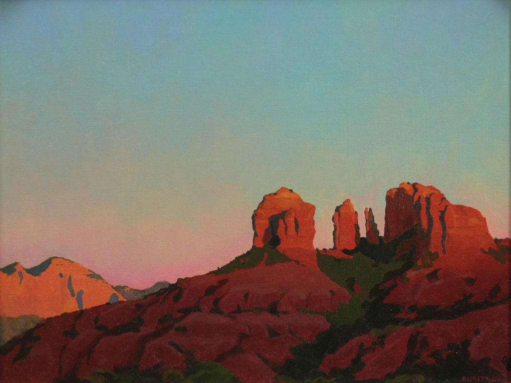 """""""Last Light on Cathedral Rock"""", 18""""x24"""" oil on linen panel"""