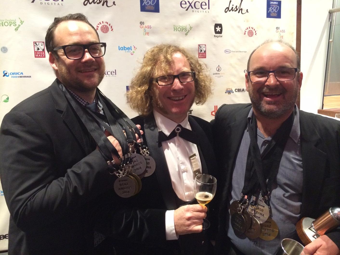 L - R: Gareth Hughes (Moa General Manager), Te Radar (MC), David Nicholls (Moa Head Brewer)