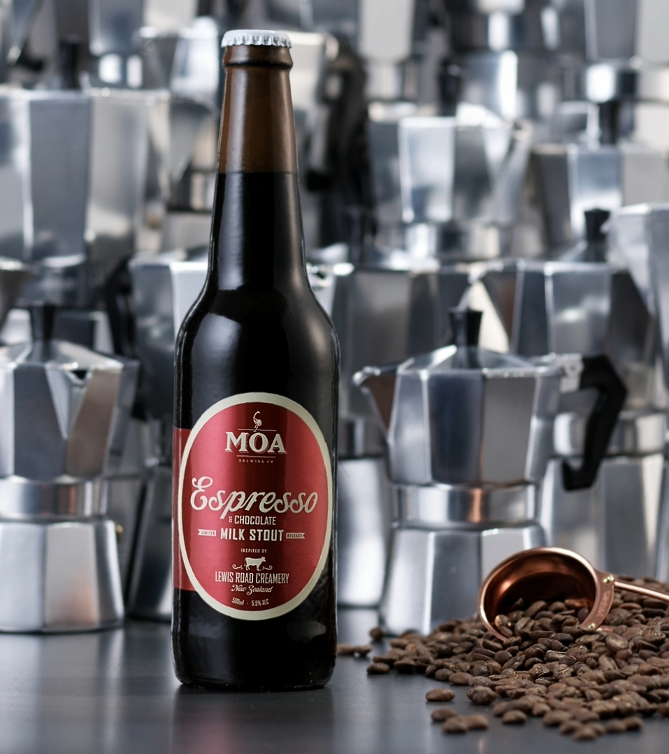 MOA ESPRESSO & CHOCOLATE MILK STOUT - Style: MILK STOUTABV: 5.5%Serving Glass: Tulip GlassBottle Size: 500mlThe dream team of Moa and Lewis Road come together again for this invigorating brew, which delivers the fullness of a milk or cream stout, balanced with a hint of chocolate from cocoa nibs and chocolate malt. Tempered with an integrated nutty coffee flavour, and with coffee also heightening the bitterness, this one's a complex and satisfying taste experience.Released: September 2018