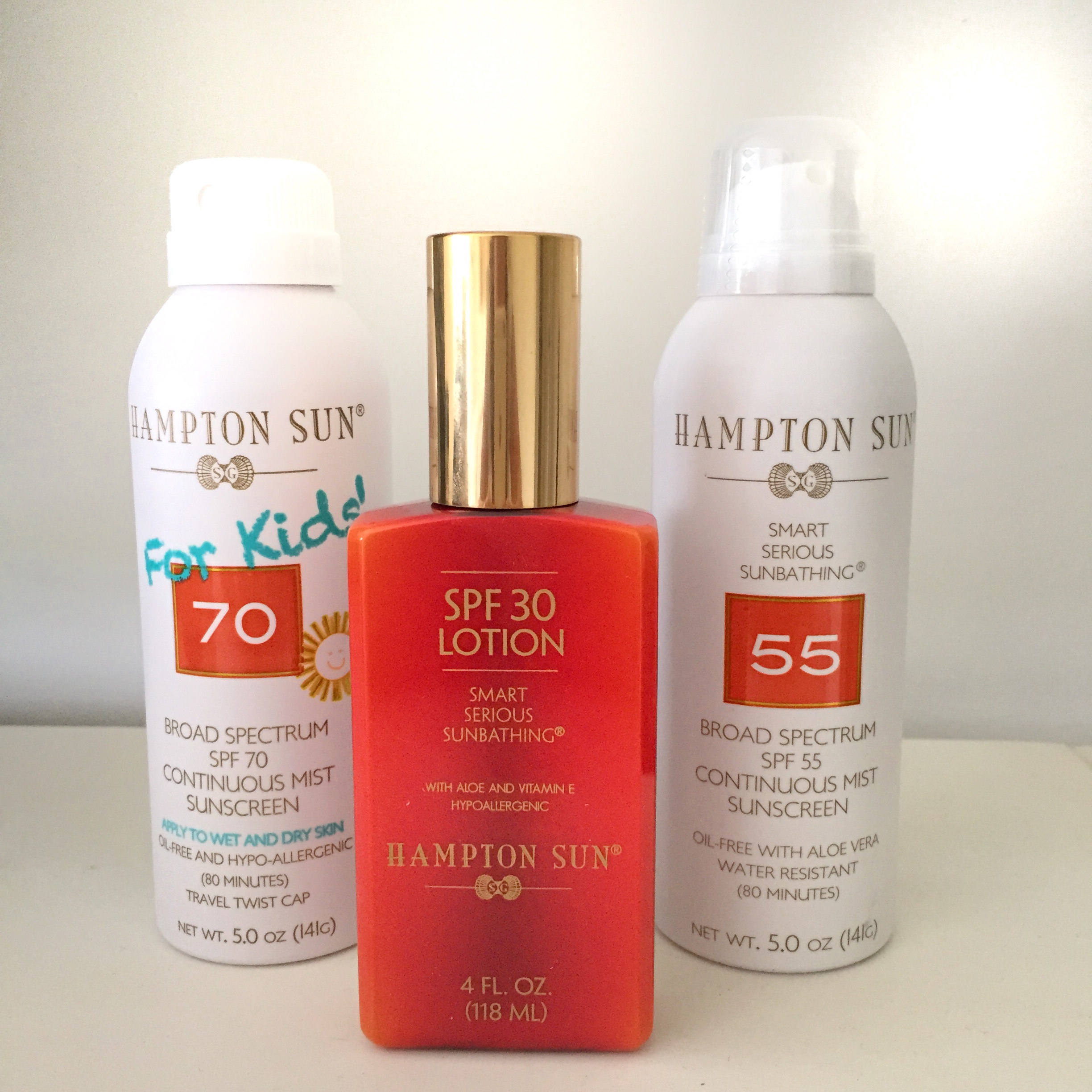 SPF 70 For Kids ($32) SPF Continuous Mist ($32) and SPF 30 Lotion ($36)    Hampton Sun