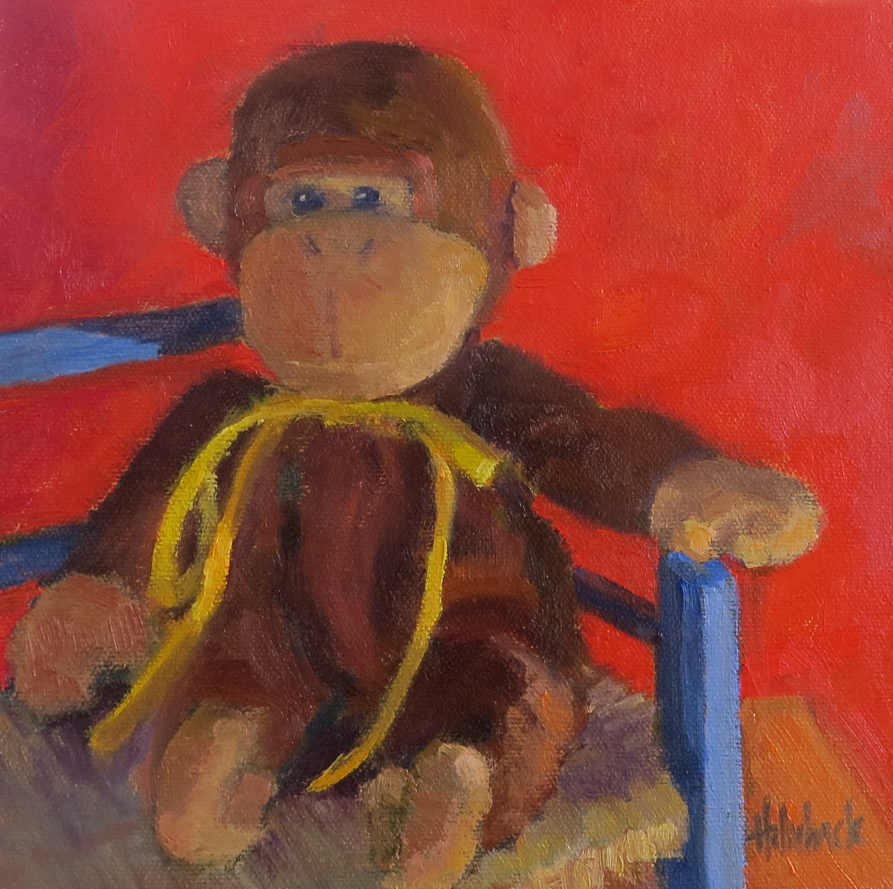 "Little Monkey  8"" x 8""  Private Collection"