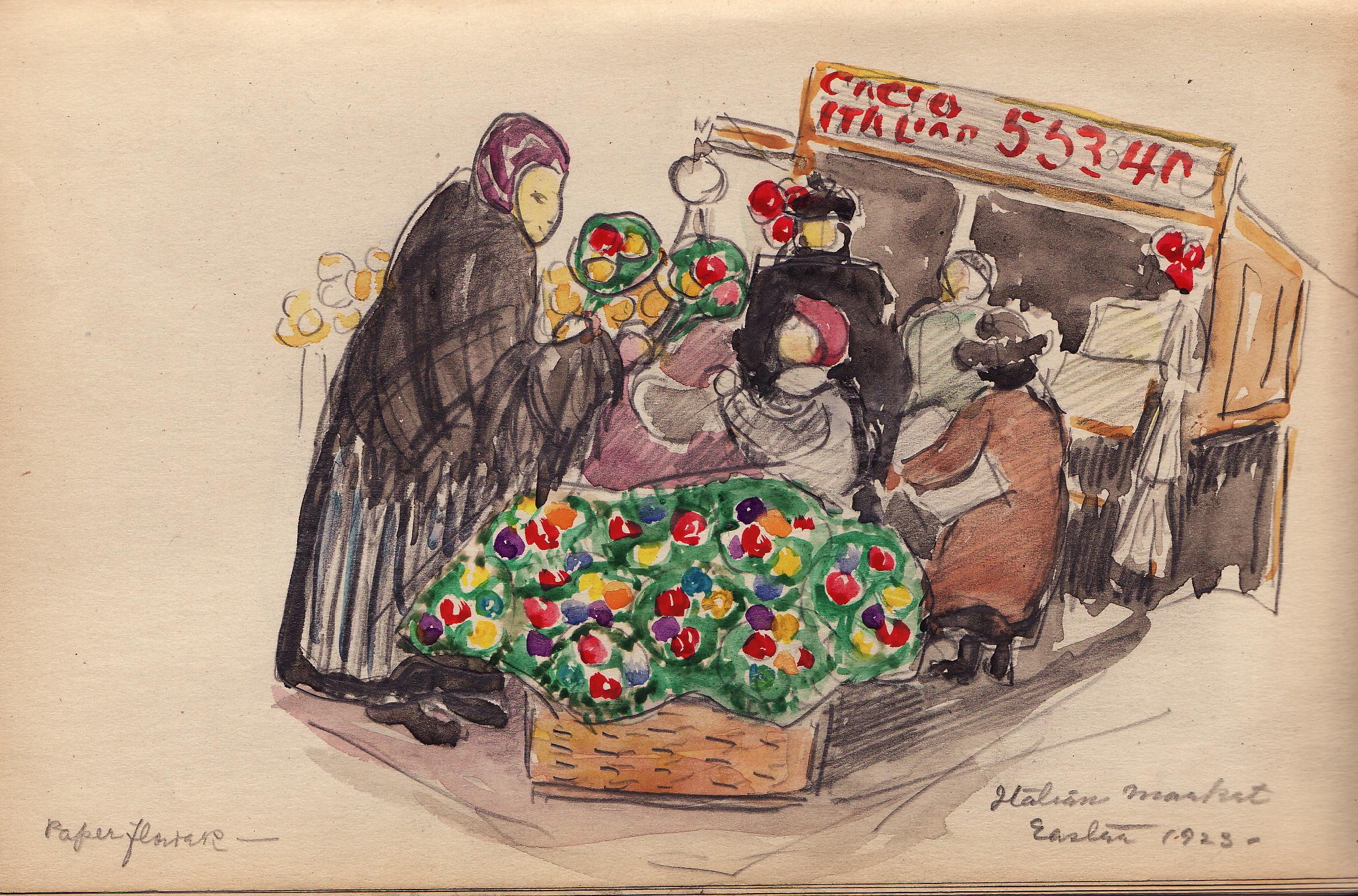 Italian Market (1923 Sketchbook) by Edith Lake Wilkinson