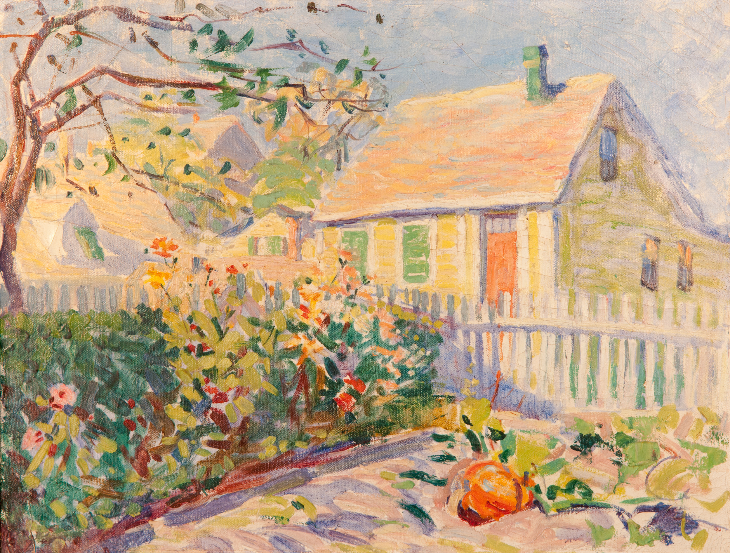 House with Pumpkin (Oil Painting) by Edith Lake Wilkinson