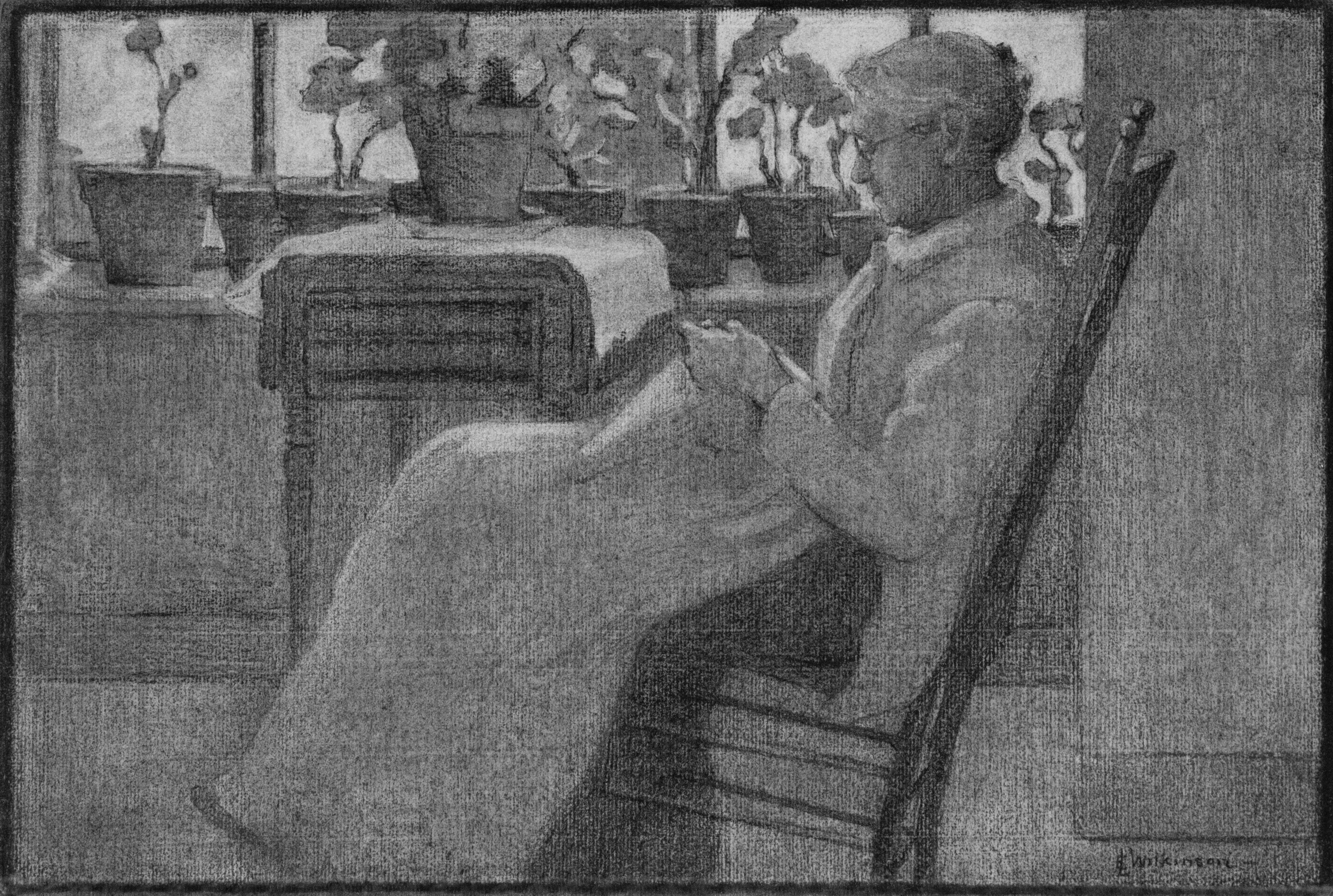 Old Woman in Chair (Charcoal) by Edith Lake Wilkinson