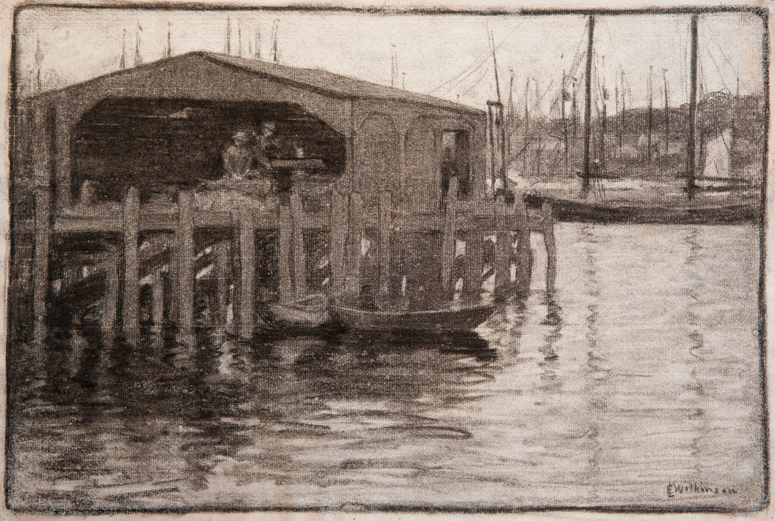 Provincetown Dock (Charcoal) by Edith Lake Wilkinson