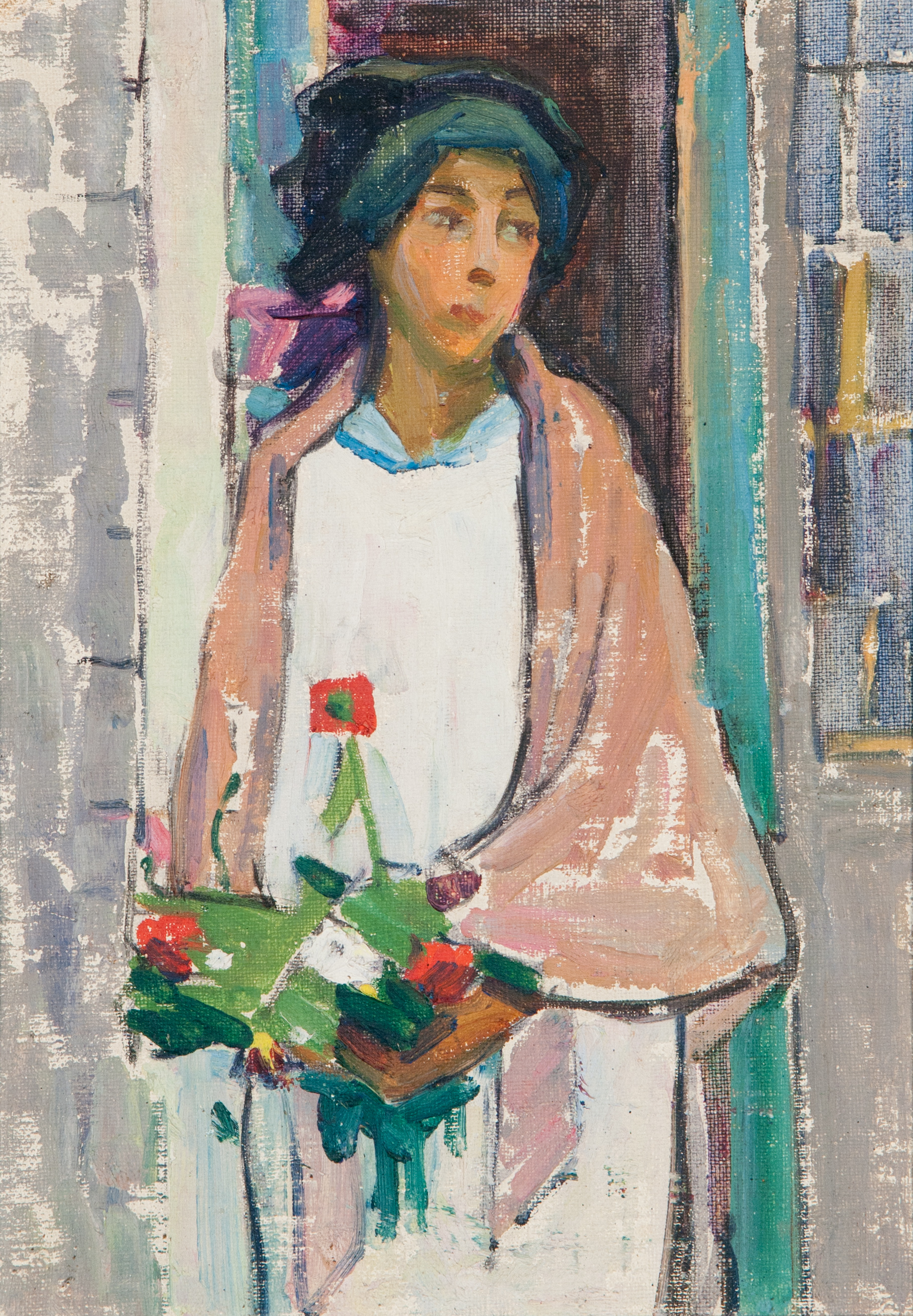 Woman with Flowers (Oil Painting) by Edith Lake Wilkinson