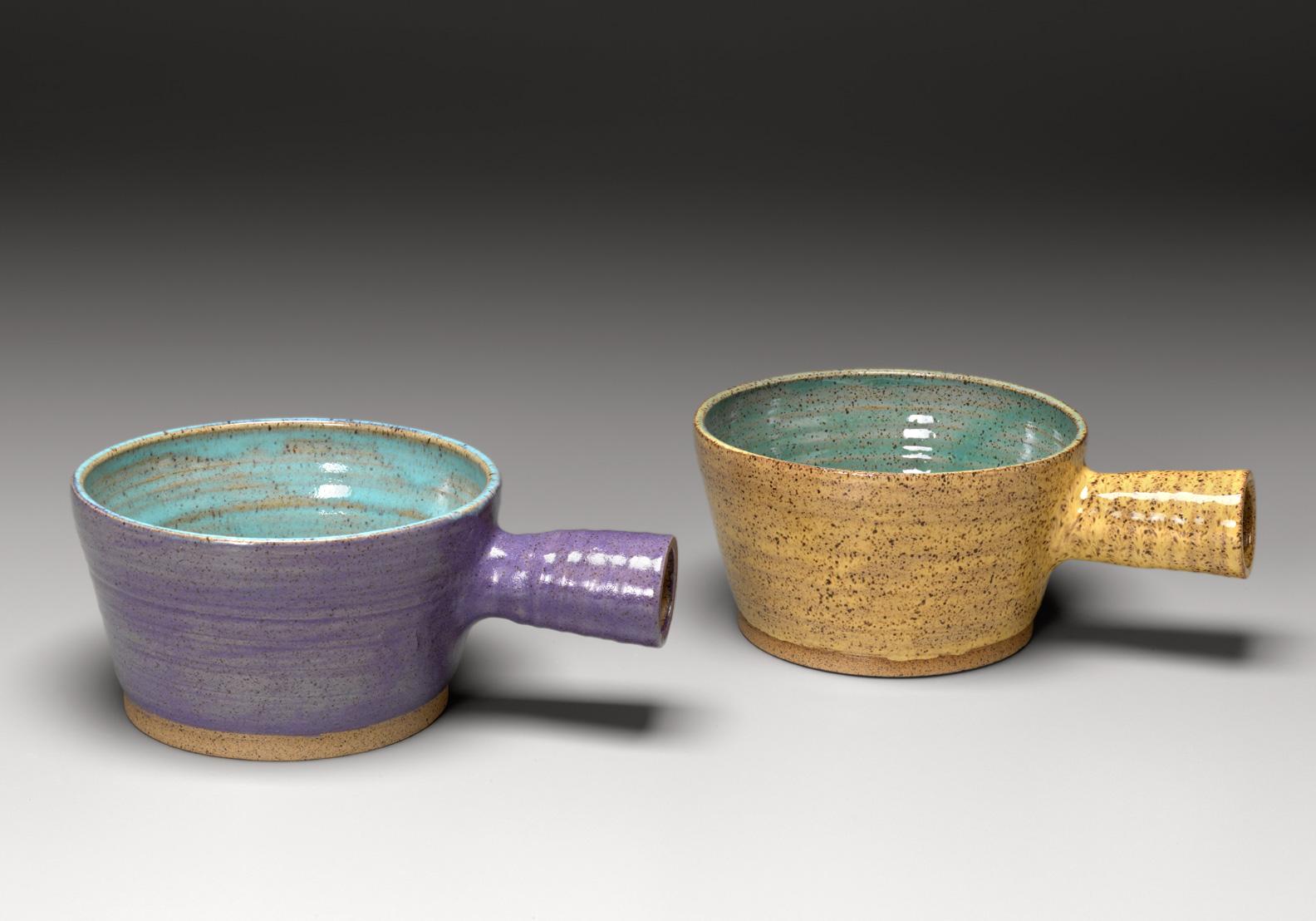 "Chowder Bowls: Stoneware    Lilac and Aqua, Yellow and Robin's Egg   5.5"" x 3.5"""