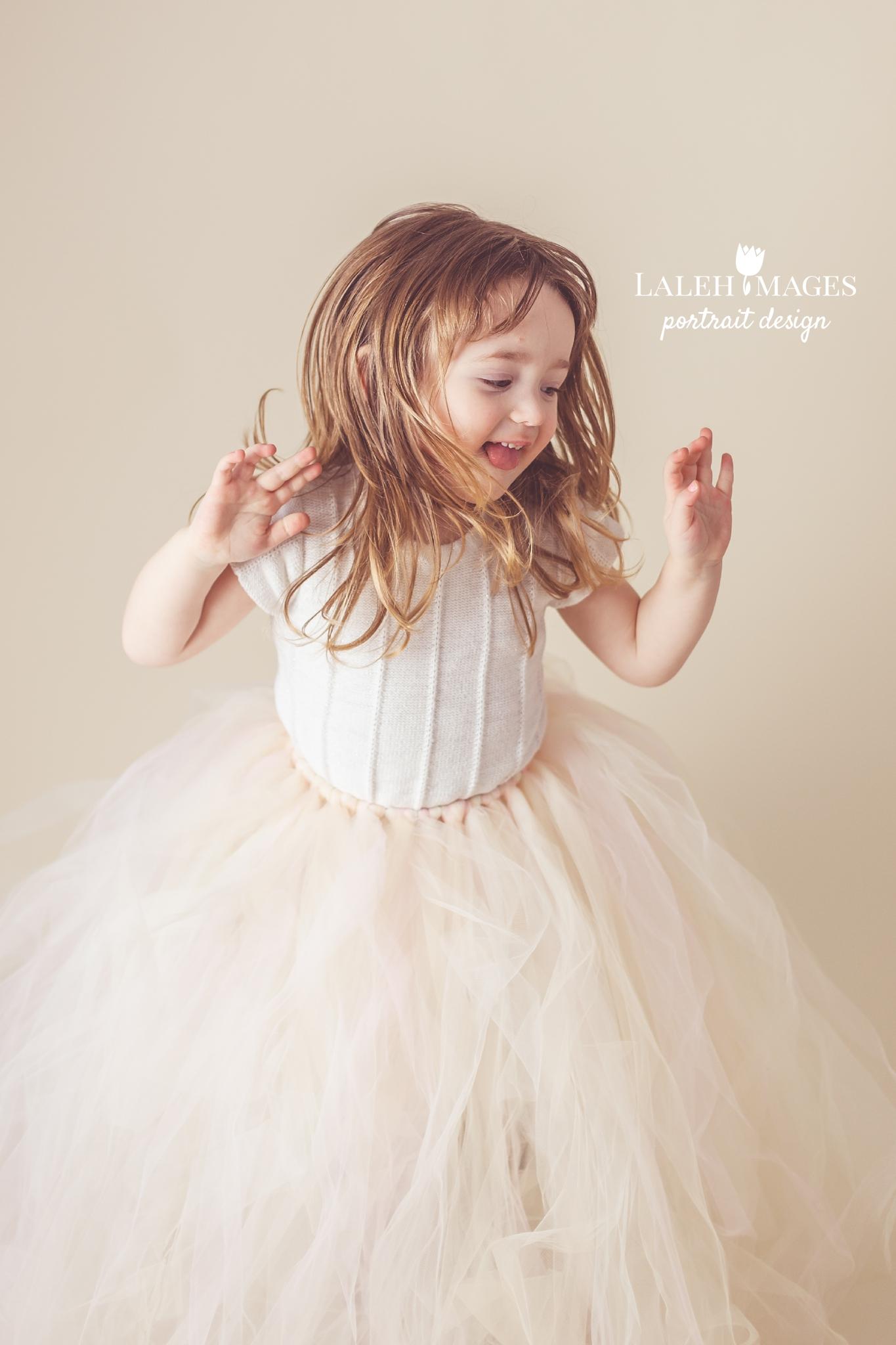Dancing toddler tutu photo session