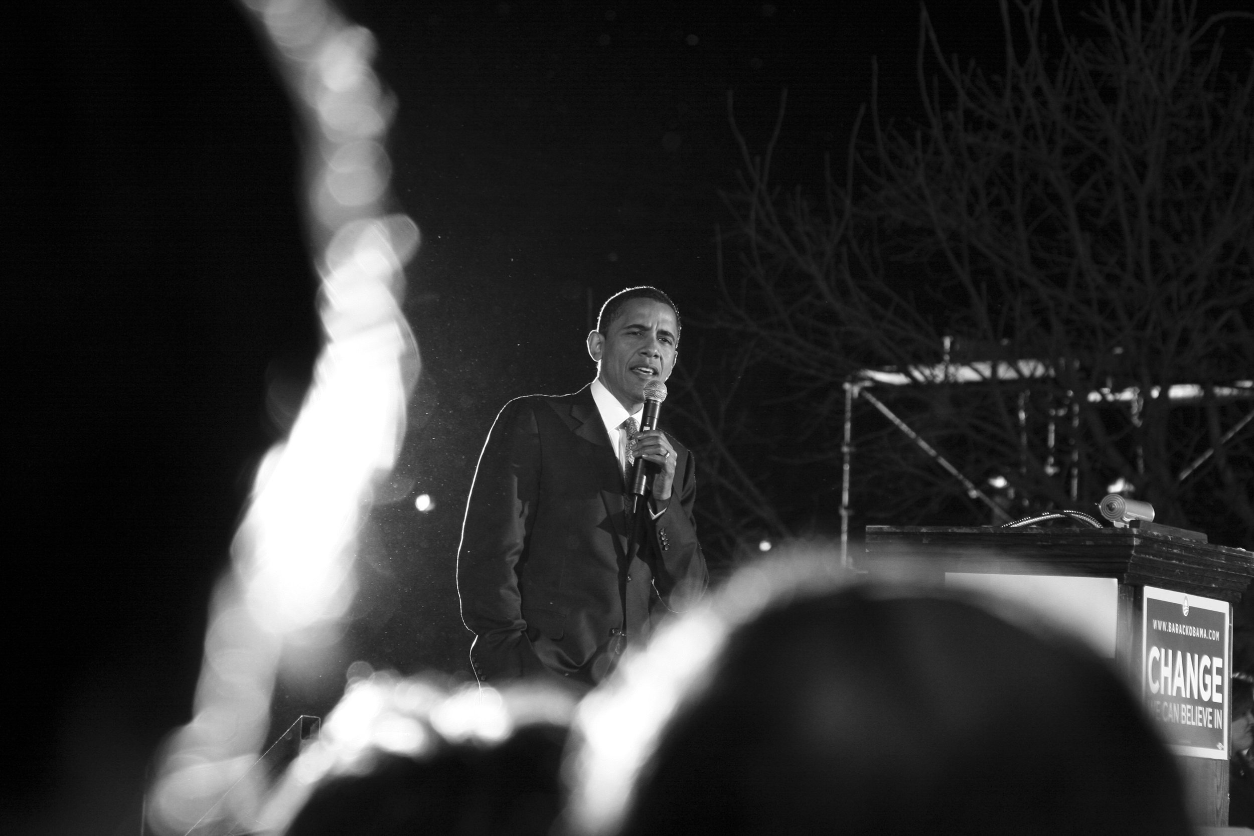 Barack Obama speaks to students at Texas State University while on the campaign trail during the 2008 Presidential Election.  San Marcos, TX 2008