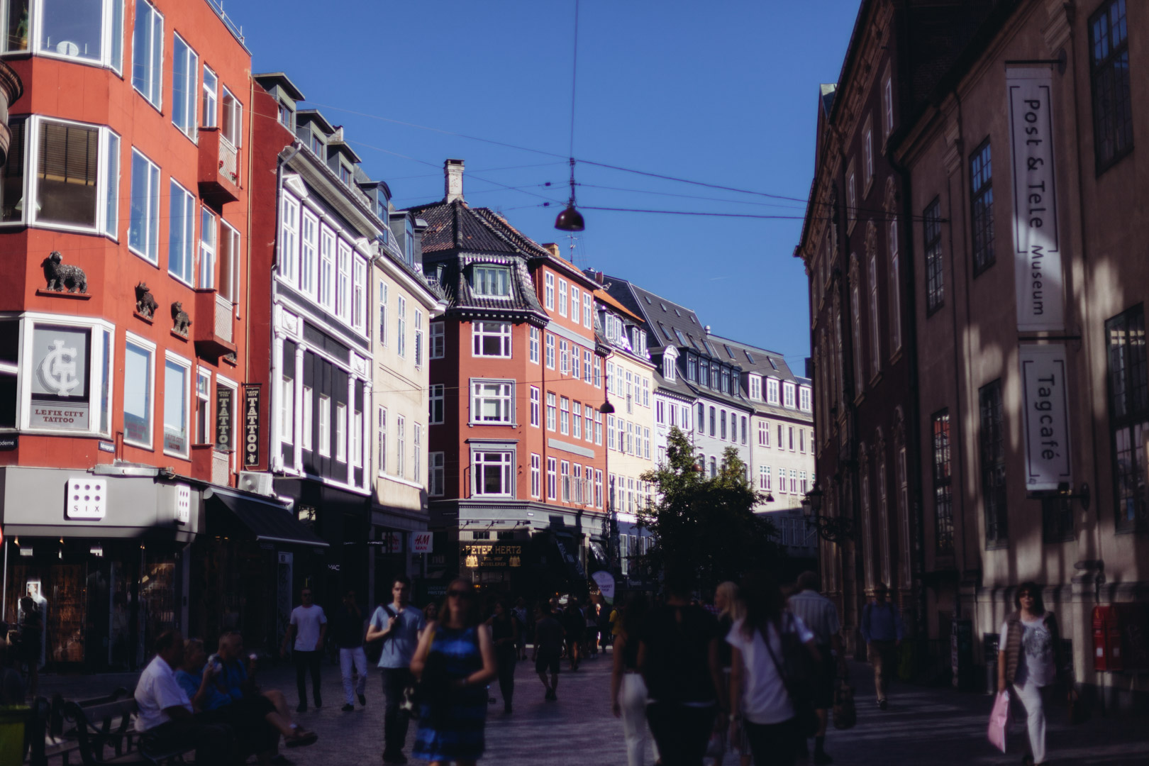 Strøget,  a pedestrian, car free shopping area in Copenhagen, the longest pedestrian shopping streets in Europe at 1.1 km