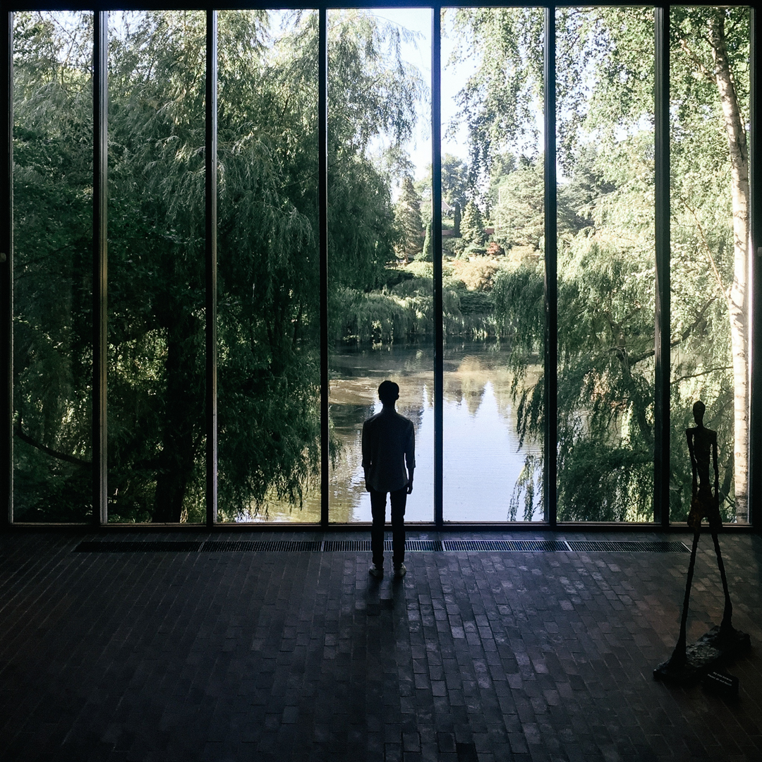 the most scenic room with huge windows to take in the view of peaceful lake and swingy willow tree