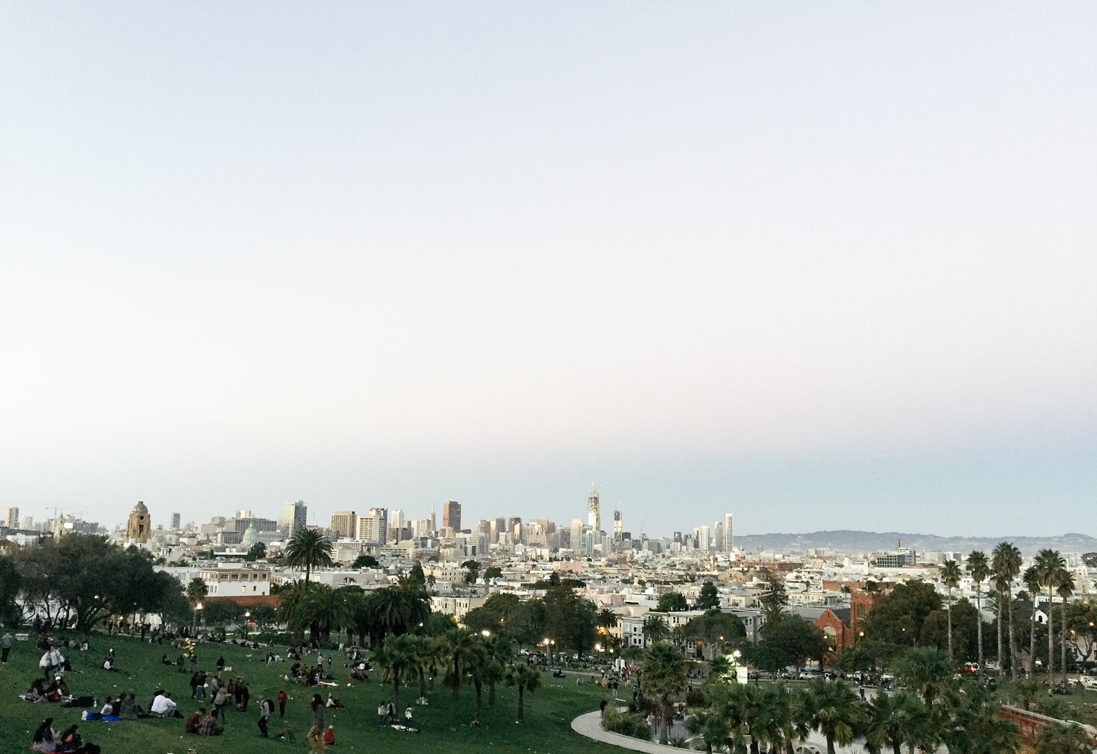 Rosy skyline at Dolores Park