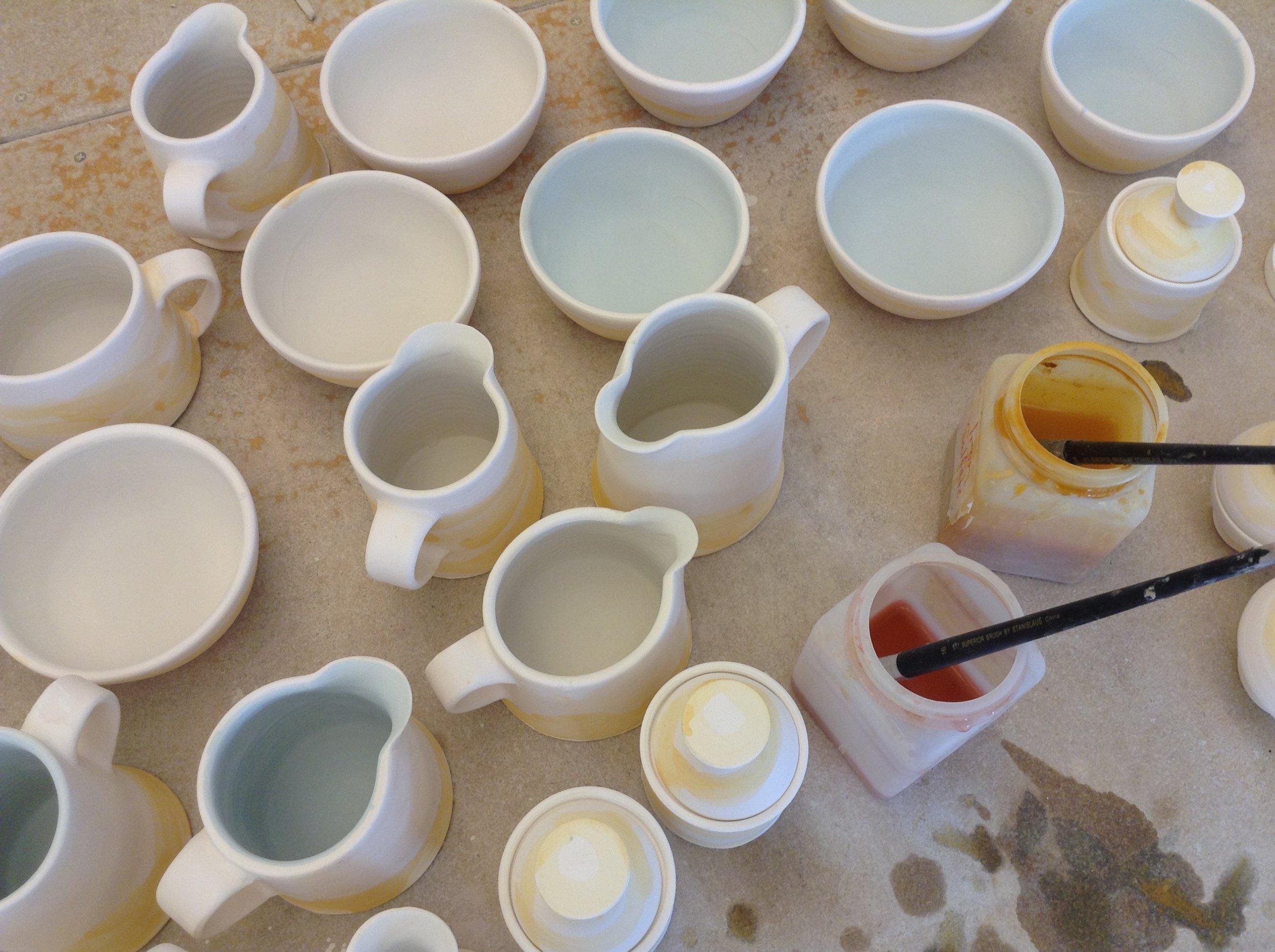 Prep for Soda Firing, staining & glazing