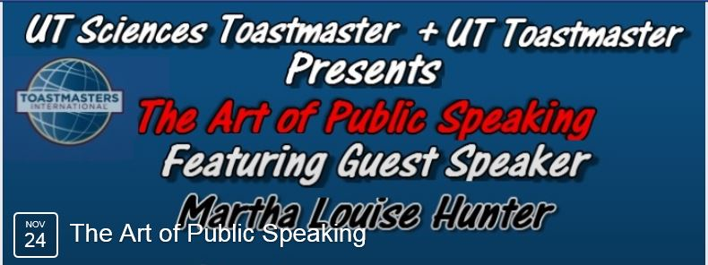Martha Louise Hunter Guest Speaker at University of Texas Toastmasters Association