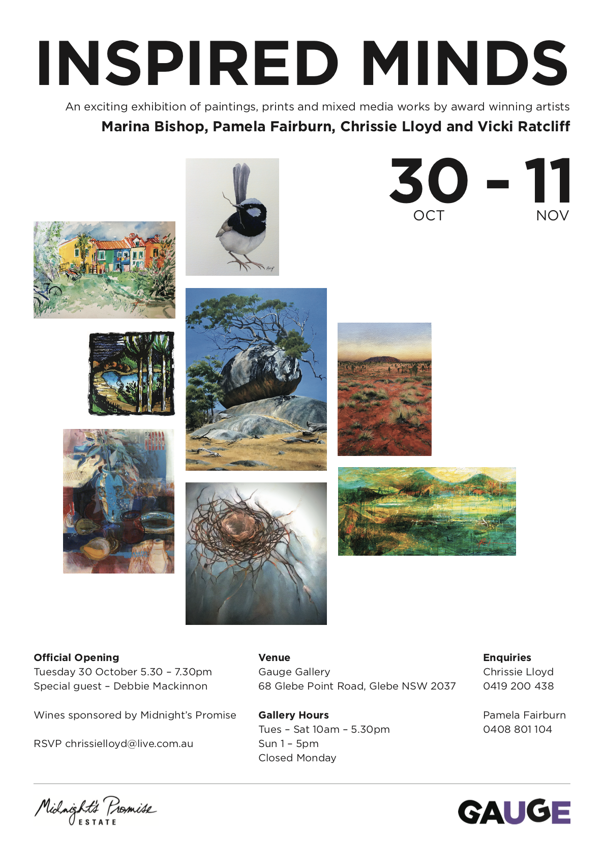 Inspired Minds - 30 October - 11 November 2018Group exhibition - Chrissie Lloyd, Marina Bishop, Pamela Fairburn and Vicki Ratcliff