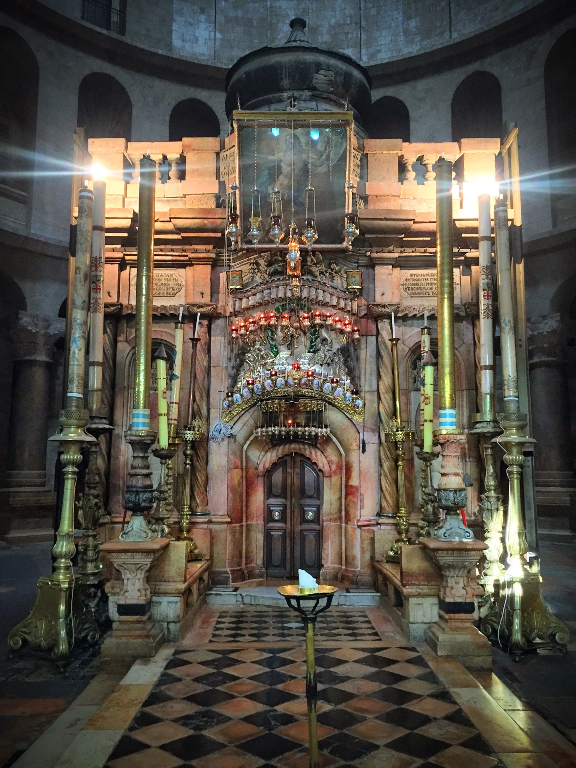 The Aedicule, containing the Angel Stone and the tomb of Jesus.