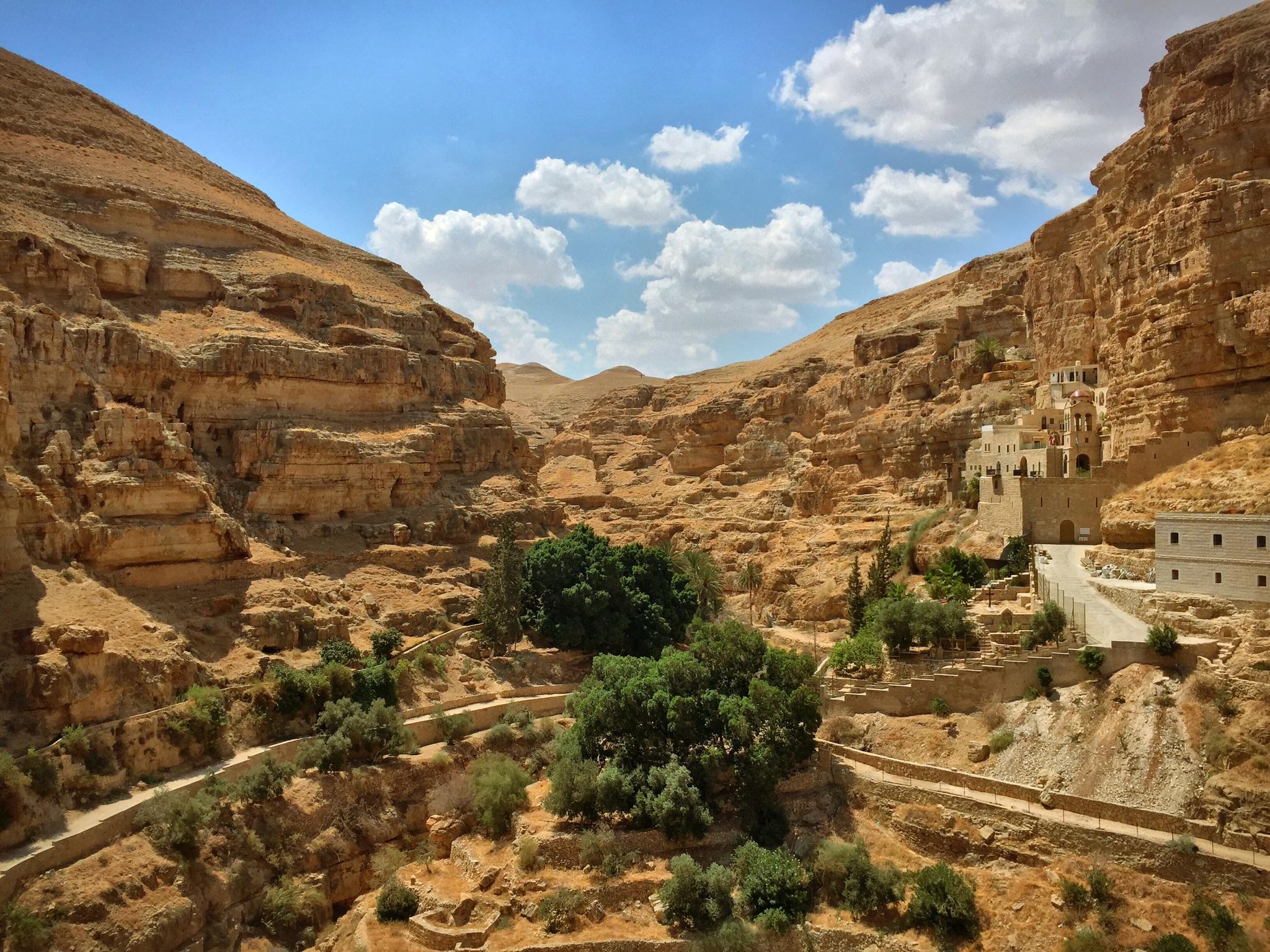 Cut into the Wadi Qelt.