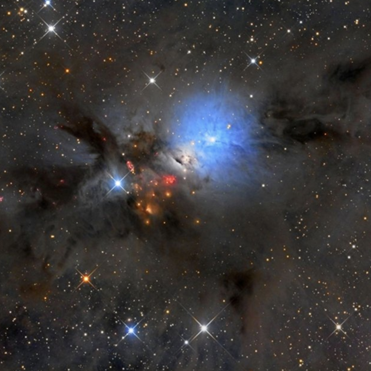 NGC 1333 is seen in visible light as a reflection nebula and lies at the edge of a star-forming molecular cloud. NGC 1333 contains hundreds of stars less than a million years old, over half of them in binary or higher-order systems.
