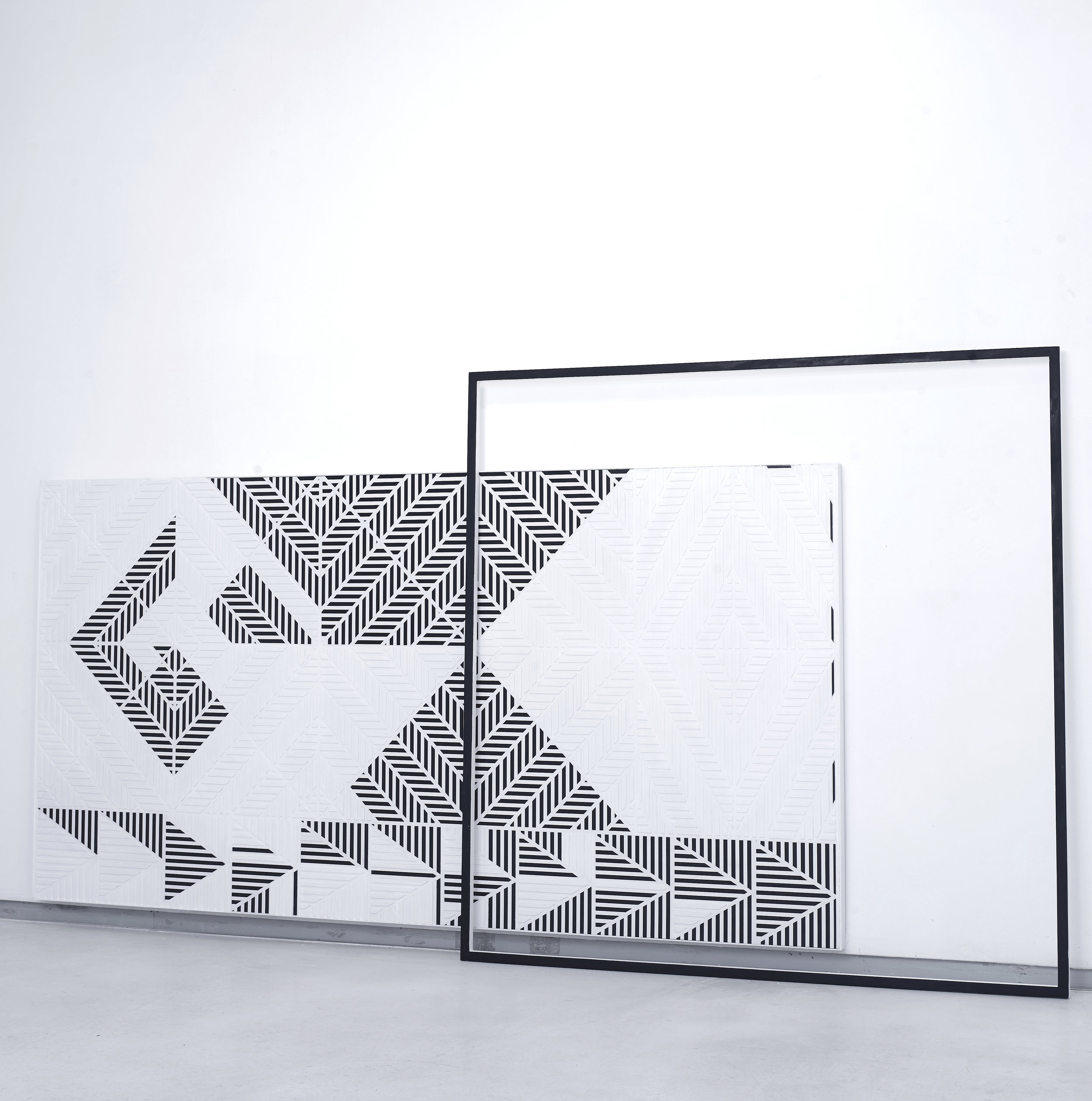 White Geometric Pattern with Frame