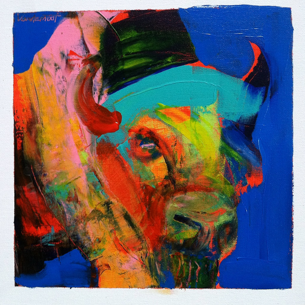 Bison #10, acrylic on canvas, 12x12 inches, 2015