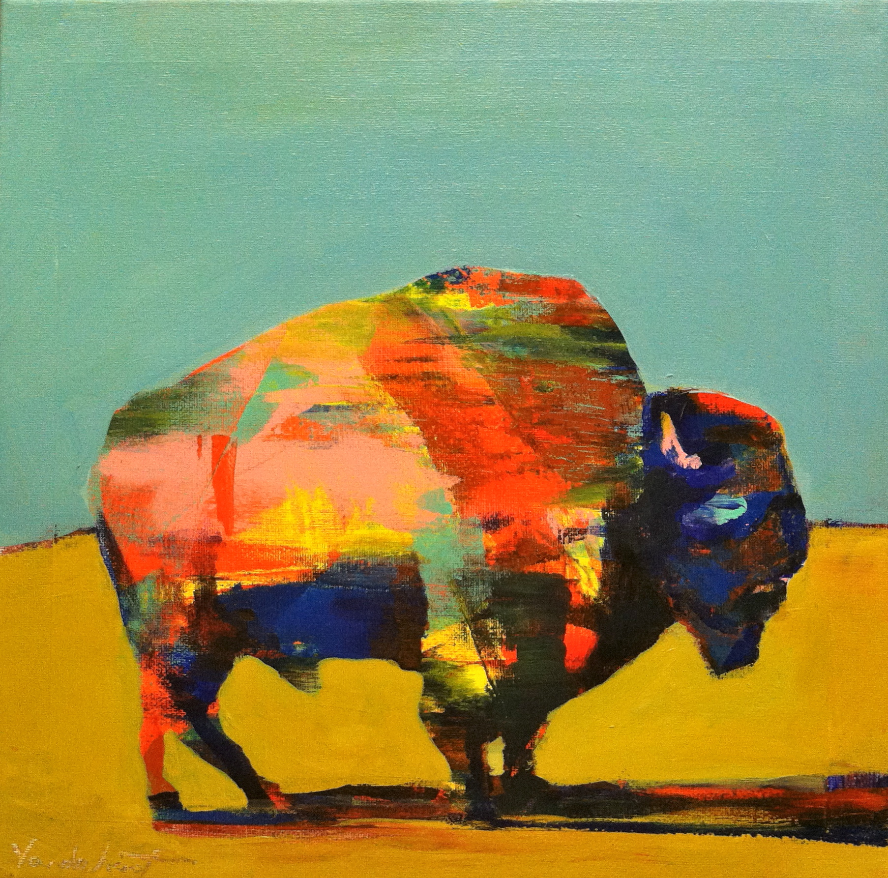 Bison #1, acrylic on canvas, 12x12 inches, 2015