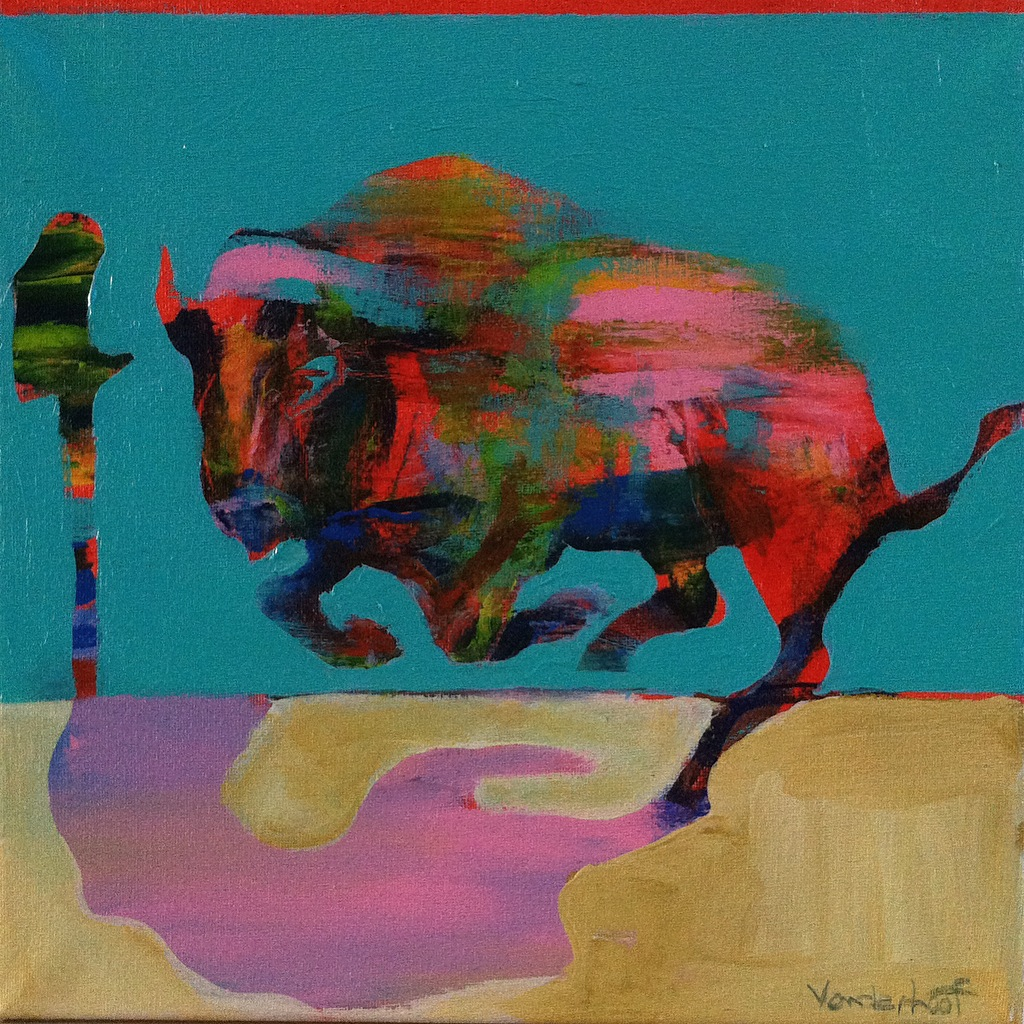 Bison with pink shadow, acrylic on canvas, 12x12 inches, 2015