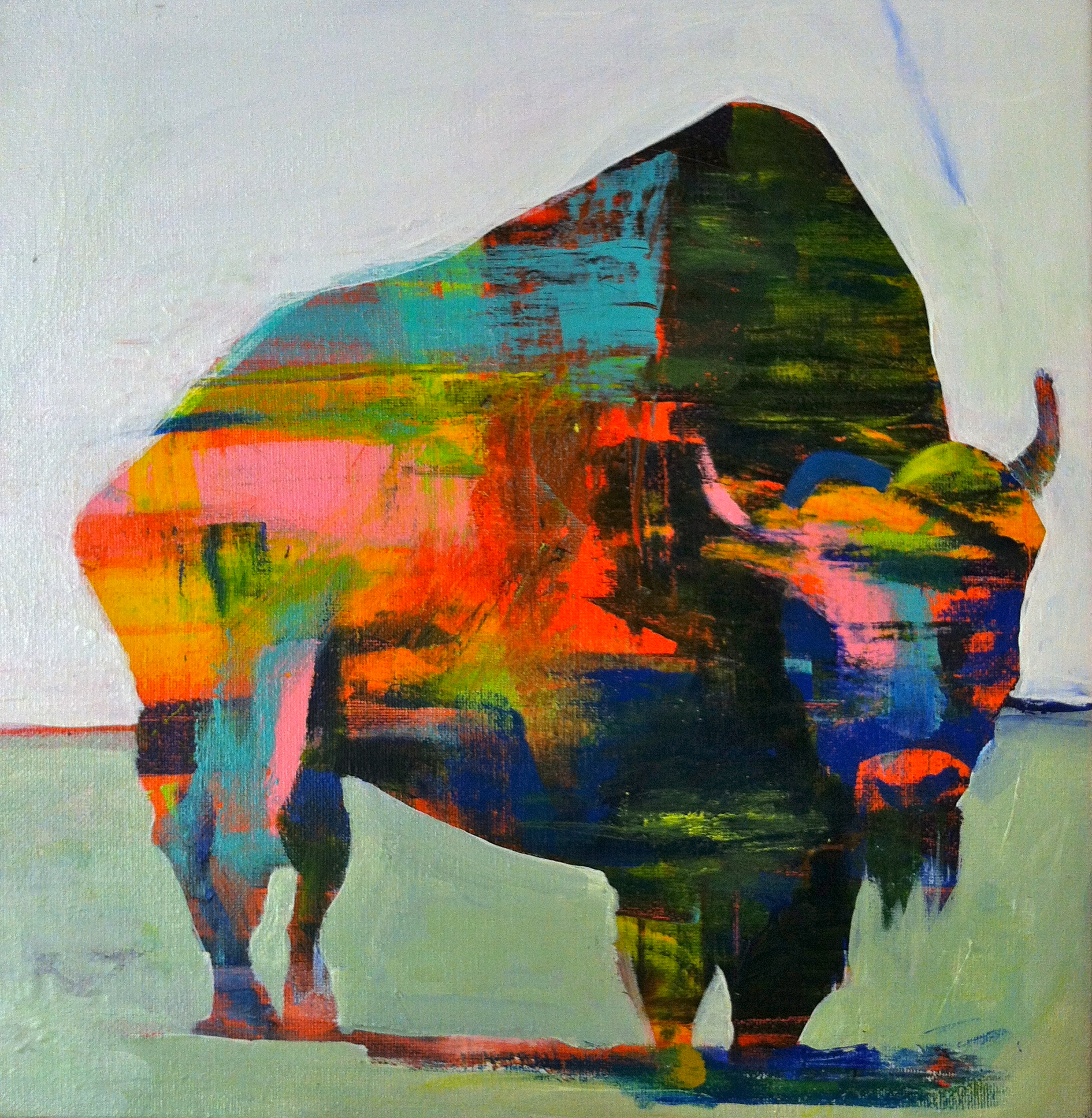 Bison in white, acrylic on canvas, 12x12 inches, 2015