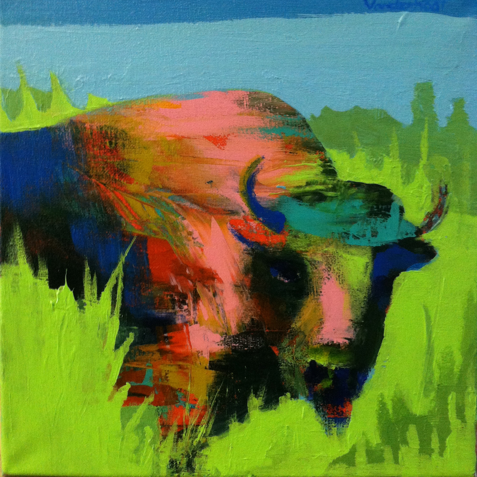 Bison in green, acrylic on canvas, 12x12 inches, 2015