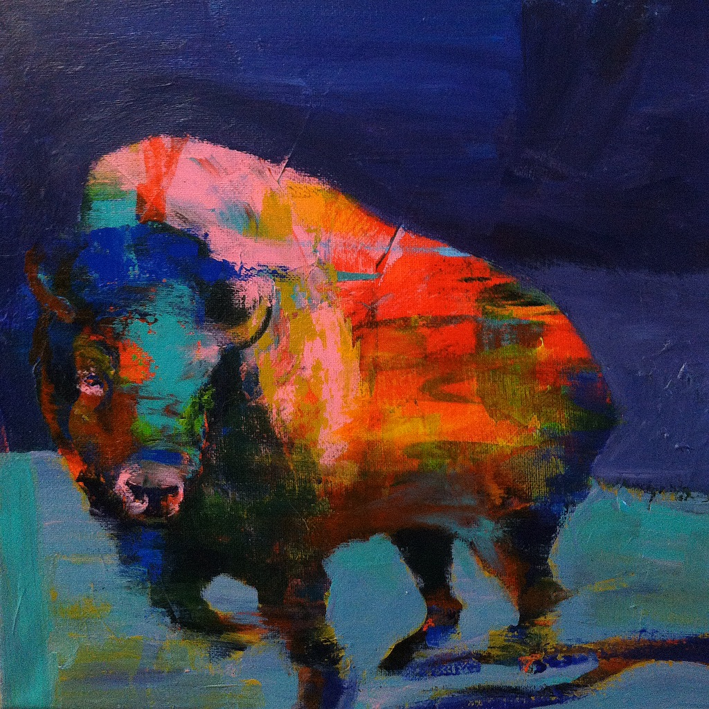 Bison #4, acrylic on canvas, 12x12 inches, 2015