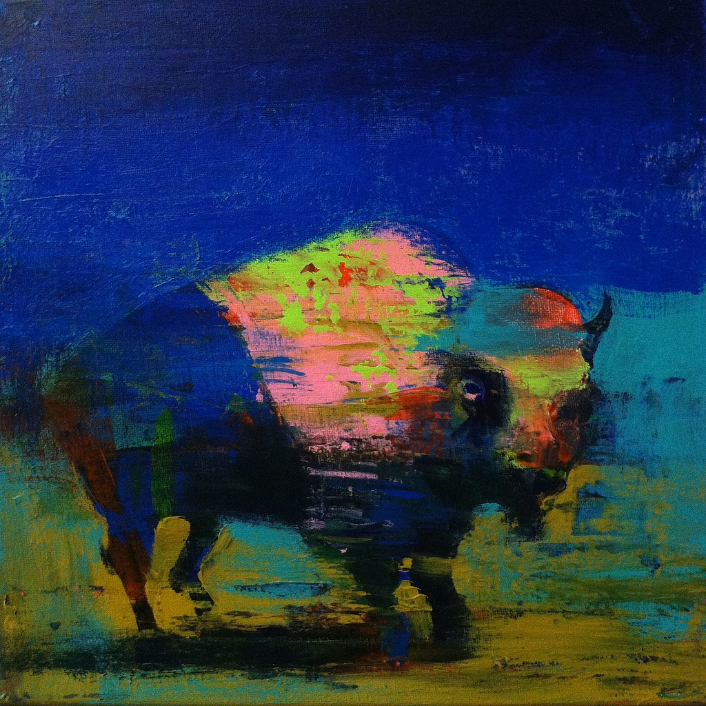 Bison #5, acrylic on canvas, 12x12 inches, 2015