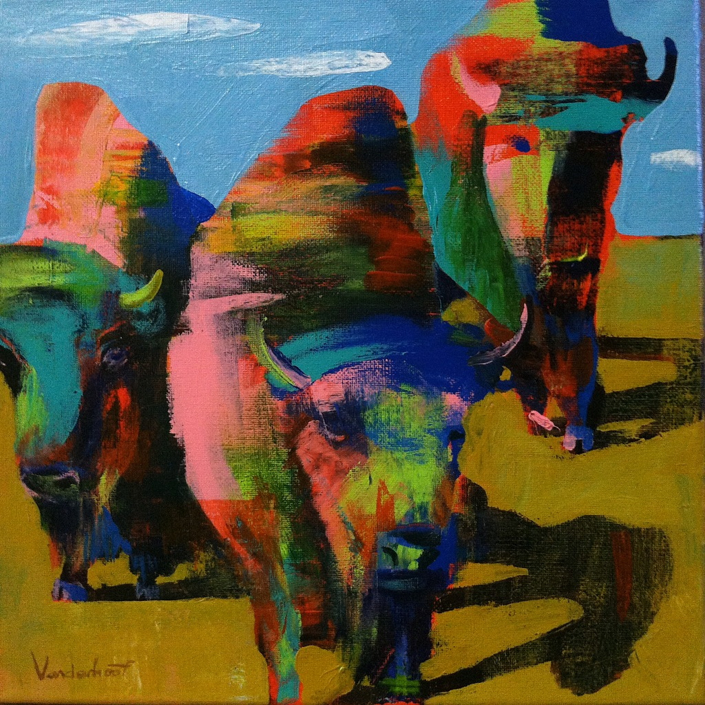 Herd of bison, acrylic on canvas, 12x12 inches, 2015
