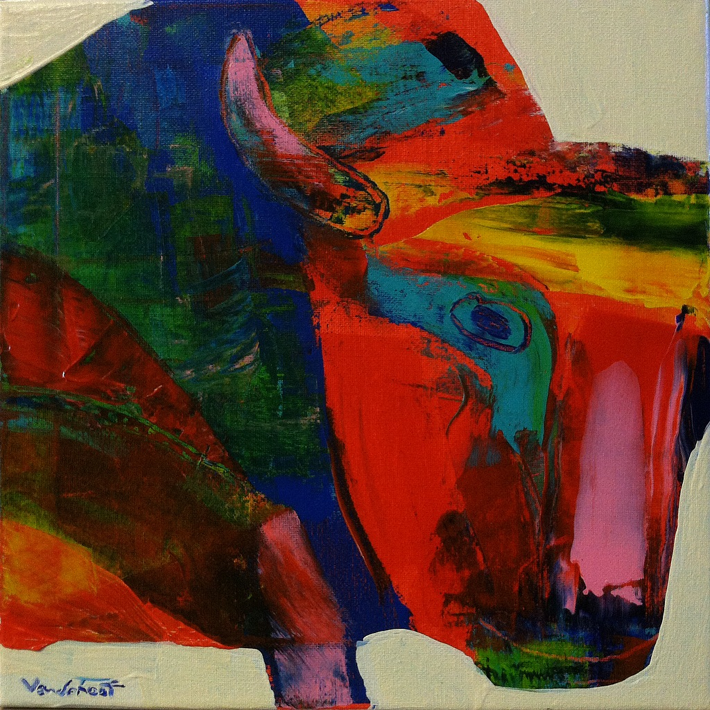 Bison #6, acrylic on canvas, 12x12 inches, 2015