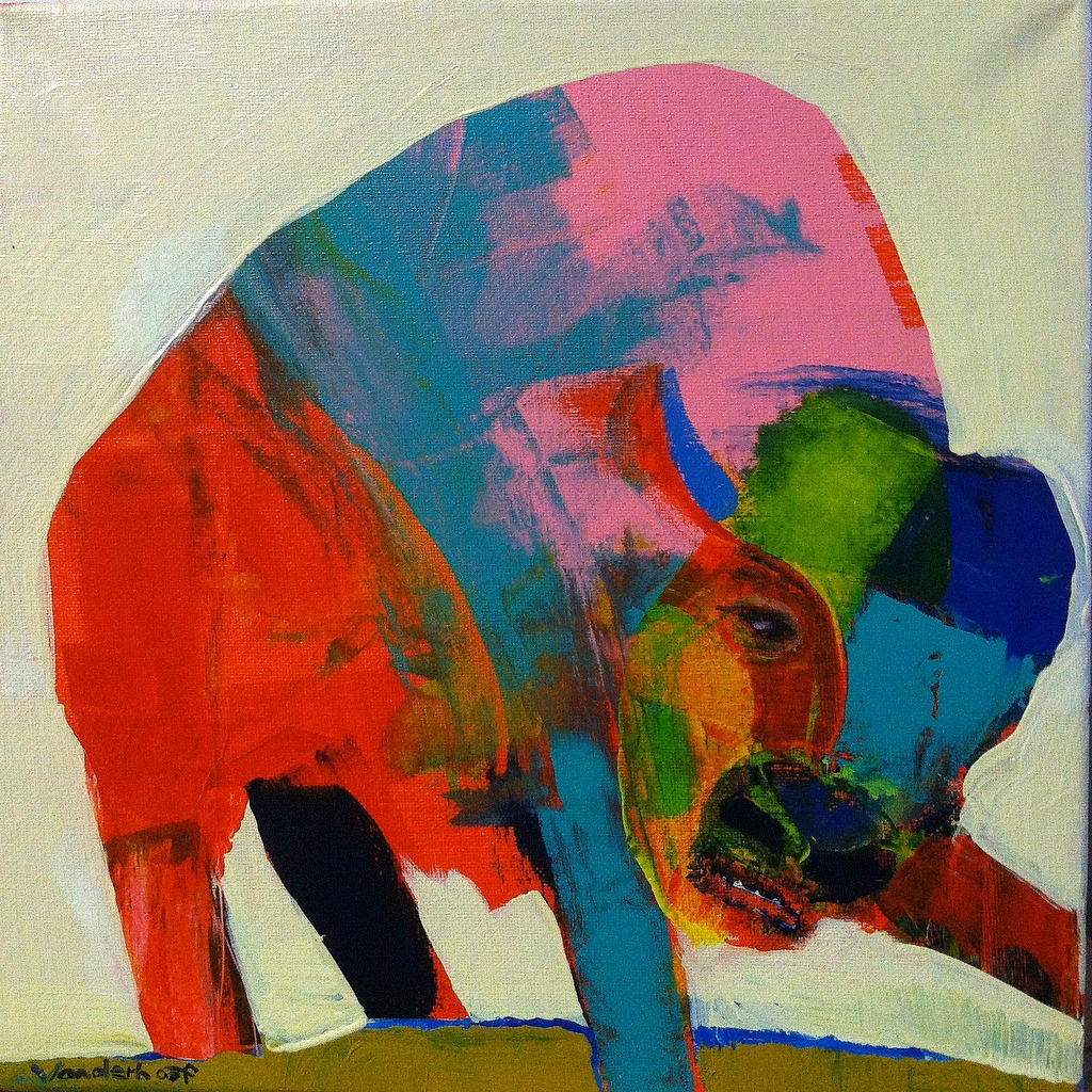 Bison #7, acrylic on canvas, 12x12 inches, 2015
