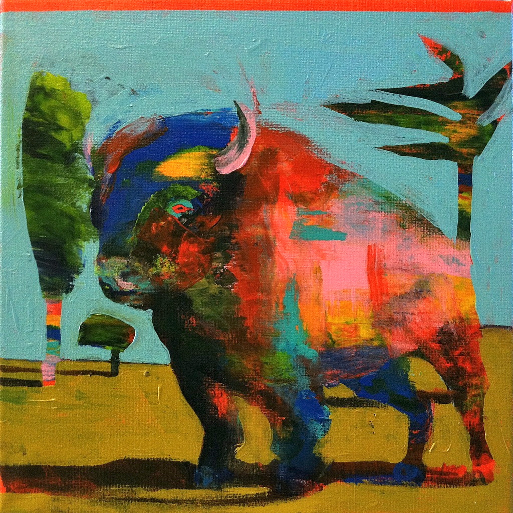 Bison #8, acrylic on canvas, 12x12 inches, 2015