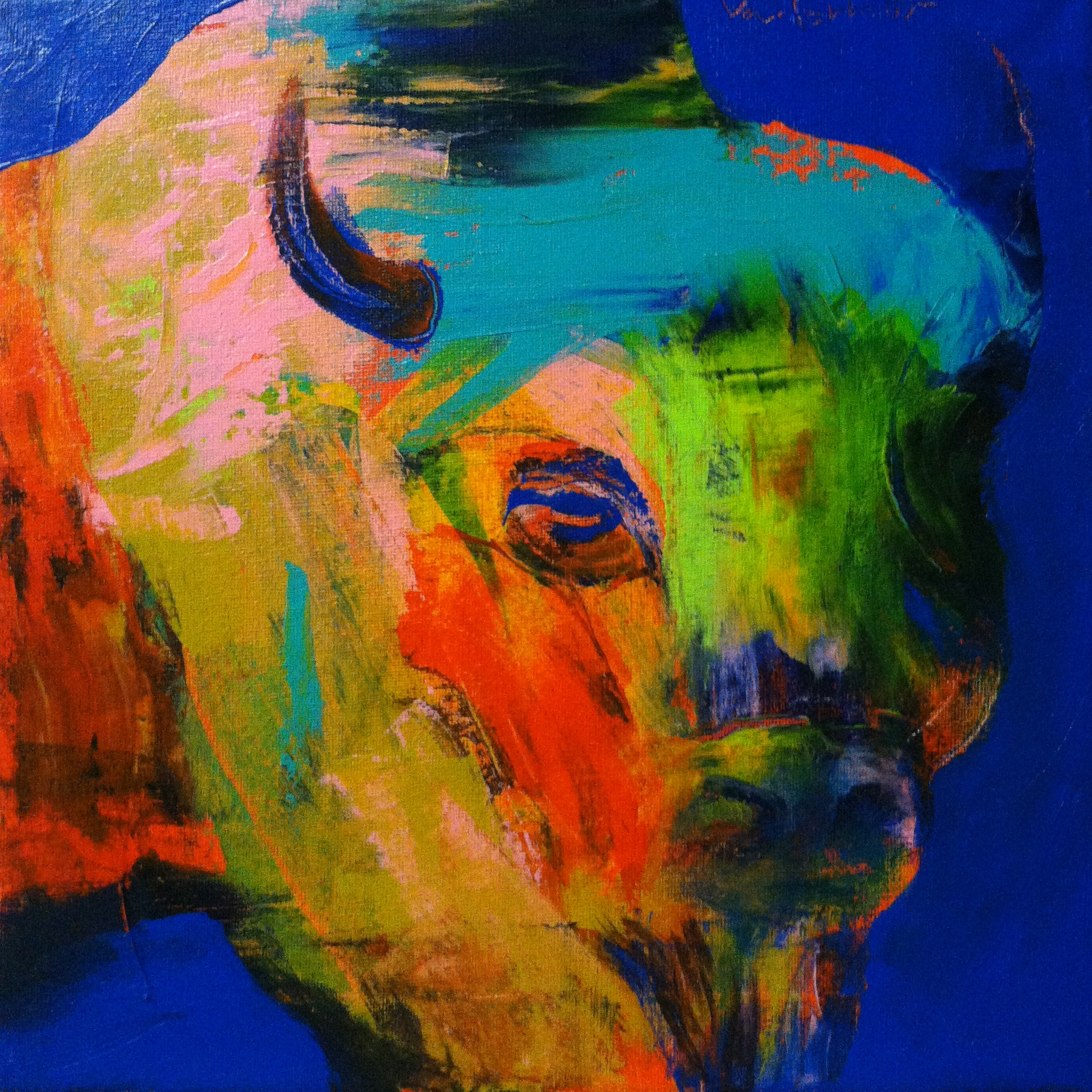 Bison #9, acrylic on canvas, 12x12 inches, 2015