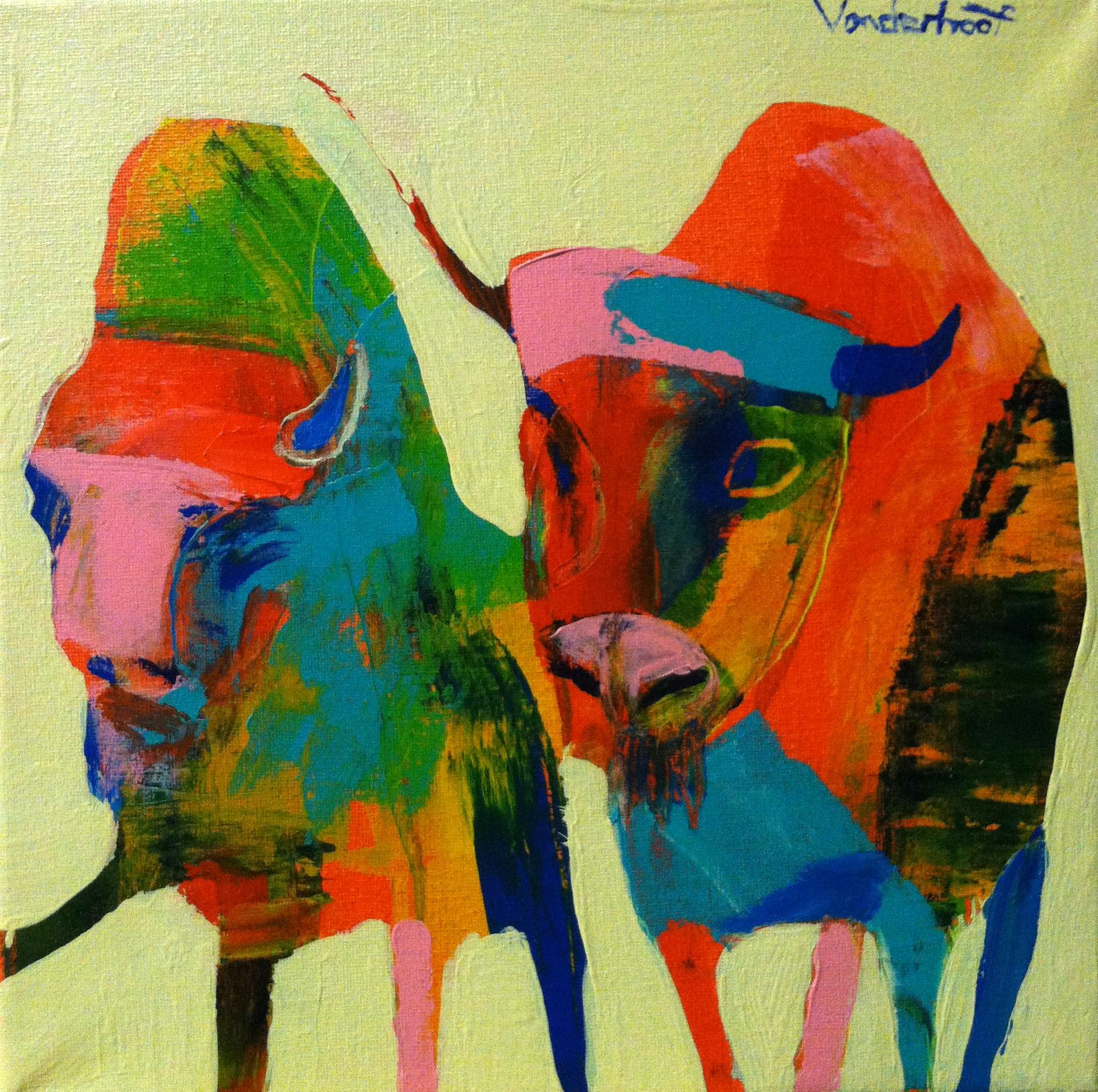 Buffalo, acrylic on canvas, 12x12 inches, 2015