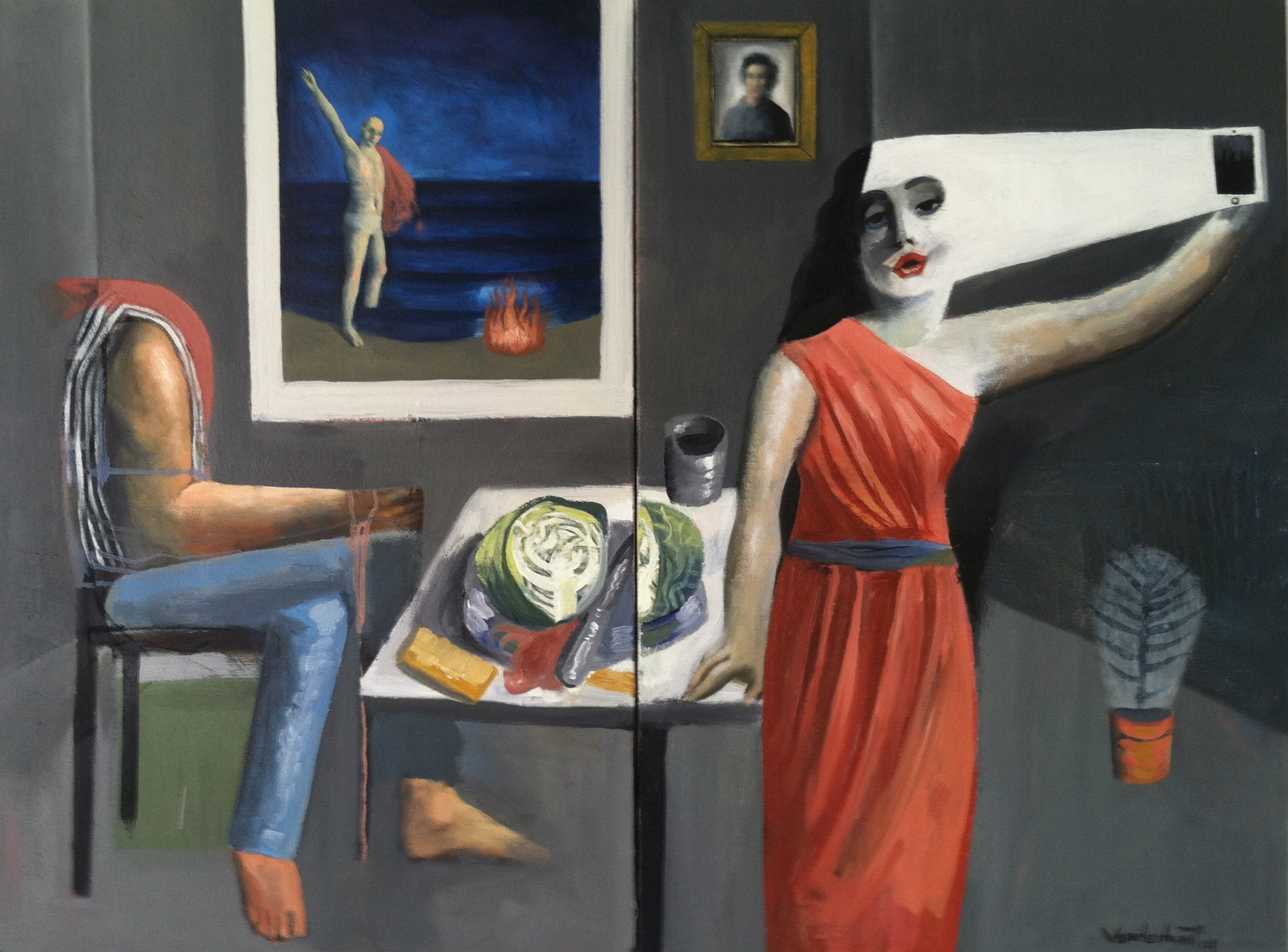 The vanity of time, oil on canvas, two canvases, 24x36 inches each, 2014